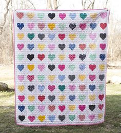 Hanna Hearts Quilt : Fresh Lemons Quilts // Simple Heart Tutorial by Cluck Cluck Sew