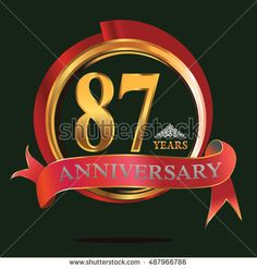 87 years golden anniversary logo with big red and gold ring. anniversary logo for birthday, celebration, wedding and party