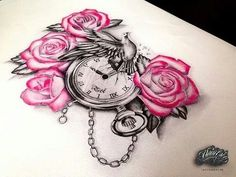 Image via We Heart It https://weheartit.com/entry/166458761 #bird #clock #drawing #roses