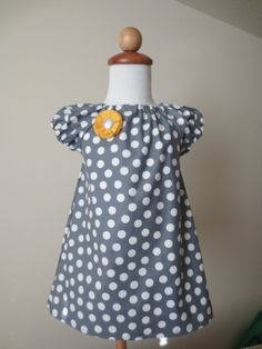 READY TO SHIP peasant dress grey polka dot yellow by BBMCreations, $30.00