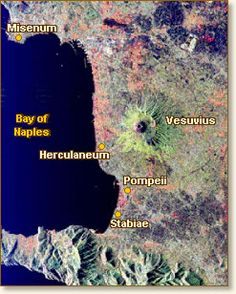 Map :: The Destruction of Pompeii, 79 AD.  LANDSAT satellite imagery.