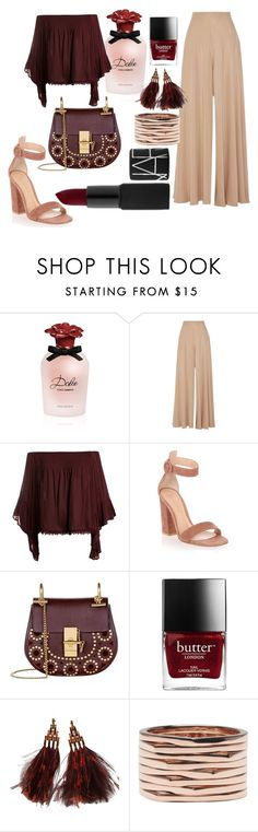 """""""Slave of red"""" by elnaezyanis on Polyvore featuring Dolce&Gabbana, The Row, Sans Souci, Gianvito Rossi, Chloé, Louis Vuitton, Repossi, redlips, REDLIP and redshades"""