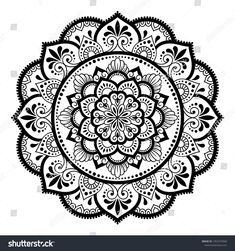 Circular pattern in form of mandala with flower for Henna, Mehndi, tattoo, decoration. Decorative ornament in ethnic oriental style. Mandala Doodle, Mandala Art Lesson, Mandala Drawing, Mandala Painting, Dotwork Tattoo Mandala, Henna Mandala, Henna Mehndi, Mehndi Tattoo, Mandala Flower