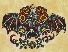 Day of the Dead 'Bat' By Illustrated Ink   Modern by GeckoRouge, $87.00