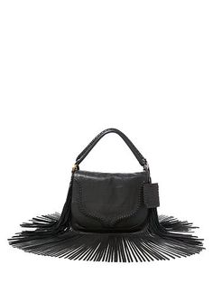 Fringed Leather Saddle Bag - Polo Ralph Lauren Crossbody Bags - RalphLauren .com