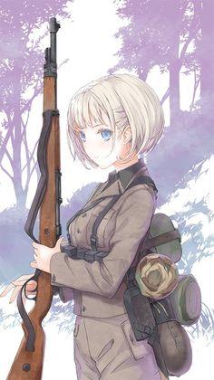 埋め込み Anime Military, Military Guns, Anime Weapons, Warrior Girl, Anime Artwork, Anime Fantasy, Fantasy Art, Manga Pictures, Illustration Girl