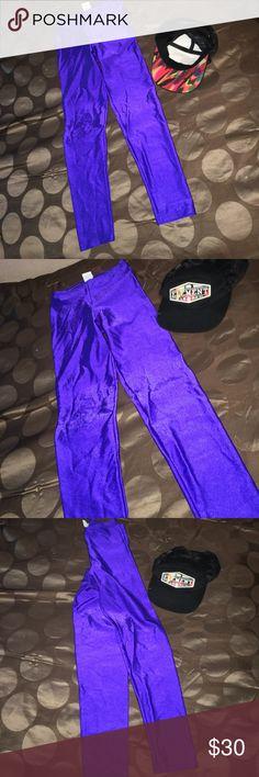 Purple shiny leggings Nylon/ spandex 80s vibe Pants Leggings