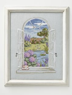 Garden of tranquility: Maria Diaz's view through a window is so relaxing on page 33 - our chart of the month! http://www.myfavouritemagazines.co.uk/stitch-craft/cross-stitch-collection-magazine-subscription/