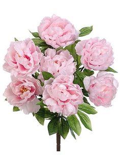 "Peony Silk Flower Bush in Light Pink<br>19"" Tall"