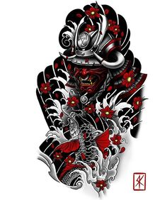 Irezumi sleeve tattoo sketch made for Thank you for your trust! - Irezumi sleeve tattoo sketch made for Thank you for your trust! If you want a similar - Japanese Dragon Tattoos, Japanese Tattoo Art, Japanese Tattoo Designs, Japanese Sleeve Tattoos, Irezumi Tattoos, Geisha Tattoos, Samurai Maske Tattoo, Samurai Tattoo Sleeve, Irezumi Sleeve