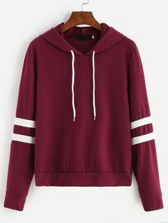 Burgundy Varsity Striped Drawstring Hooded Sweatshirt Mobile Site