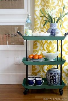 Ive always liked the idea of having a little entertaining cart to pull out for casual breakfasts, a dessert station or an after-dinner coffee bar. | http://@Emily Schoenfeld Schoenfeld Schoenfeld A. Clark -Home Decor
