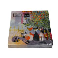 "Rosina Wachtmeister Napkins "" Vita Familiare "" Cat Design 20 Piece #Nodata"