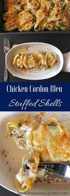 Chicken Cordon Bleu Stuffed Shells are a new twist on a classic dish. A cheesy chicken and ham filling is enhanced by a thick and creamy Gruyere sauce and topped with crispy panko and Parmesan. A perfect use for leftover chicken and ham!