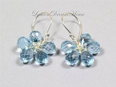 Gemstone Flower Earrings Swiss Blue Quartz by LemonDreamHouse