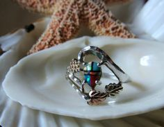 10k and Sterling Silver Opal Ring Black Hills Gold Turquoise Coral. Originally appeared on Gypsy Posse board. For more info or to purchase double click on the picture.