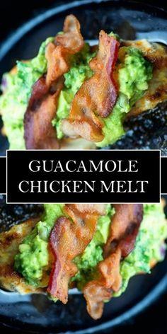 >>Click here<<  GUACAMOLE CHICKEN MELT << #yummy #food Meat Recipes, Mexican Food Recipes, Chicken Recipes, Cooking Recipes, Healthy Recipes, Guacamole Chicken, Good Food, Yummy Food, Recipes