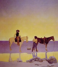 """""""Cowboys' Hot Springs, Arizona"""", Oil by Maxfield Parrish (1870-1966, United States)"""