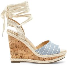 Sole Society Sena Espadrille Wedge ($70) ❤ liked on Polyvore featuring shoes, sandals, chambray stripe, ankle tie sandals, beach sandals, wedge espadrilles, espadrille wedge sandals and beach shoes