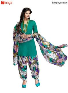 MINU FASHION- Women's Beautiful Green Color Cotton Salwar Kameez-Satinpatyala-5006