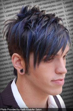 I love this cut and color combo! I'd probably do red/brown, pink/blonde. Short Hair Undercut, Slicked Back Hair, Braids For Short Hair, Short Hair Styles, Black Hair With Blue Highlights, Blue Black Hair Color, Braids With Fade, Brown Hair Boy, Mens Hair Colour