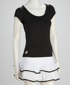 Take a look at this Black Tennis Puff-Sleeve Tee - Women by Switch Athletics on #zulily today!