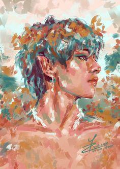 Fanart Kpop, Taehyung Fanart, Kpop Drawings, Bts Pictures, Aesthetic Art, Art Sketches, Cute Art, Art Inspo, Art Reference