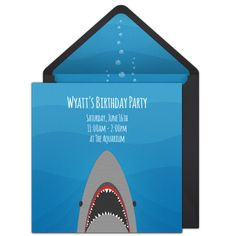 Customizable, free Shark online invitations. Easy to personalize and send for a party. #punchbowl