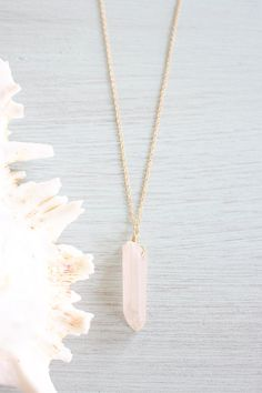 Rose Quartz Necklace Rose Quartz Spike by MoonTideJewellery