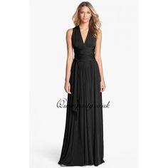 Black crisscross long maxi dress. Idea for the bridesmaids.