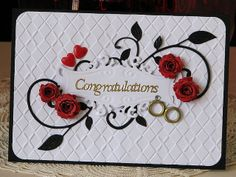 wedding card in red, black and white