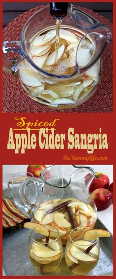 Spiced Apple Cider Sangria is an easy, make-ahead cocktail-type recipe celebrating the favorite flavors of Fall.  It's a delicious and simple blend of white wine, hard cider, apples, and pumpkin spiced syrup. Make a big batch for Halloween, Thanksgiving, Christmas and holiday parties. The marinated apple slices are as yummy as the sangria--what a combo! From The Yummy Life. #sangriarecipes #spicedsangria #applecidersangria #easysangria #makeahead