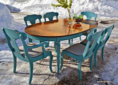 Heir and Space: Cherry Dining Set in Azure Blue