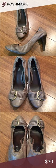 Aldo sexy heels Extremely supple material. Feels like genuine leather to me, but am not positive. EXTREMELY comfortable, and I hate heels. Pretty grayish-purple color with dark wooden heels. Preloved with minor wear (see photos), reflected in price. Soles and uppers are still in great shape; minor knicks on heels that aren't visible when wearing. These are beauties! Price is firm. No trades. Bundle and save! Aldo Shoes Heels