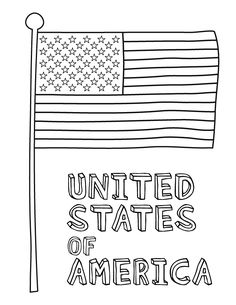 American Flag Coloring Page- and other cute holiday coloring pages