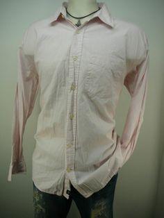 mens Shirt  L  Free Ship pink casual 100% Cotton Stripe  #OldNavy #ButtonFront