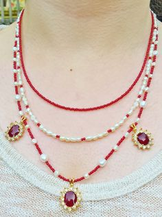 Red and white multi strand necklace // Red and by EruvandiCrafts
