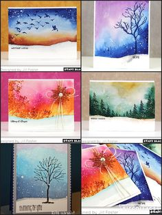 Branch Out | Penny Black snowy winter scene watercolor https://pennyblackinc.wordpress.com/2015/10/28/new-pbj-video-2/ | video tutorial https://youtu.be/Tmwm9miMyo0