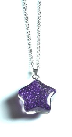 Star Necklace~Purple Star necklace~Purple Necklace-Silver plated necklace