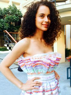 Kangana Ranaut wearing #PLAKINGER Spring Summer 2015 multicolored stripes dress at a press event in Delhi India. See the official pictures on Kangana Ranut`s website here http://www.officialkanganaranaut.com/Events.html. The strapless dress is available here https://www.runway2street.com/…/dress…/strapless-tweed-dress. The look was styled by Ami Patel. #byplakinger.com