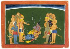 Rama and Lakshmana Bound by Indrajit's Serpent Arrows Date: ca. 1700 Culture: India (Punjab Hills, Bahu)