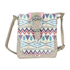 Black Tribal Aztec Crossbody Bag w/ Rhinestone Bling Buckle, Vegan Leather Purse