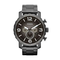 Great gift idea Fossil Men's JR1437 Nate Chronograph Smoke Stainless Steel Watch