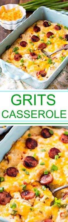 Cheesy Grits Casserole with smoked sausage.