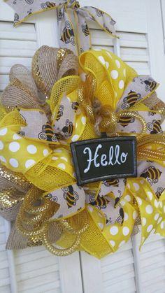 Bee Wreath Yellow Honey Bee Decor Burlap by Underthekentuckysun