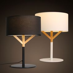 Nordic fashion Cloth art wooden Bedside lamp Contemporary contracted linen Cloth art bedroom Wooden table lamp