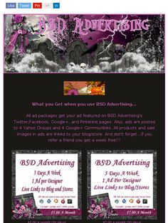 Check Out My Advertising Services for Designers/Artists & Store Owners from BSD Advertising!https://madmimi.com/s/250fe4