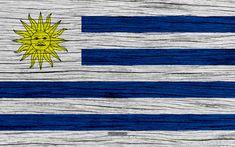 Download wallpapers Flag of Uruguay, 4k, South America, wooden texture, Uruguayan flag, national symbols, Uruguay flag, art, Uruguay