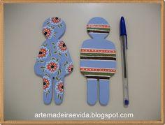 Arte, Madeira e Vida: Placas para porta banheiro