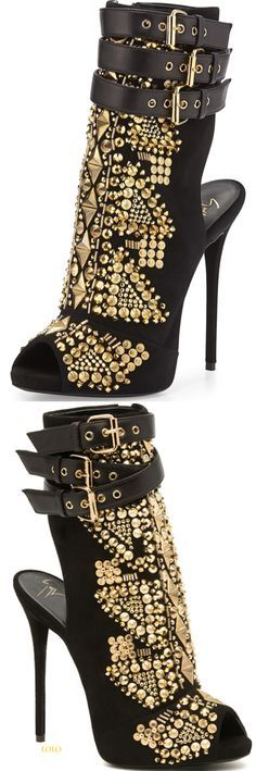 Giuseppe zanotti. black & golden spiked shoes